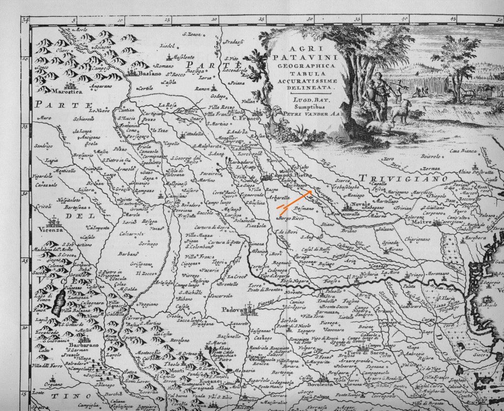fig. 6 il fiume Marzenezo indicato da freccia colore arancio in una carta vene ziana del XVII sec. (freccia arancio )