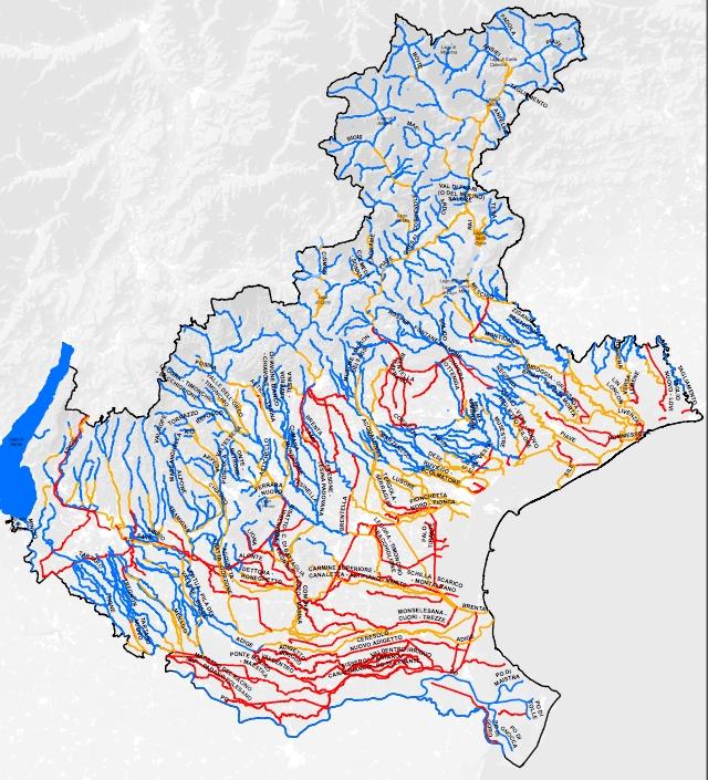 fig. XXX Carta della classificazione biologica dei corsi d'acqua del Veneto