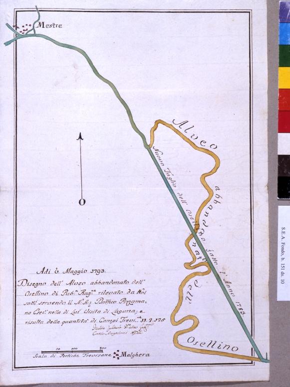 fig. 37 - Cartografia storica della rettifica del Marzenego realizzata dallo Scalfuroto (AS - SEA 1275)